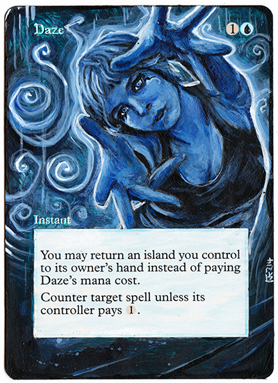 Magic The Gathering Alteration: Daze by Ondal-the-Fool