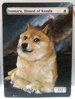 Magic the Gathering Alteration: Isamaru Doge by Ondal-the-Fool