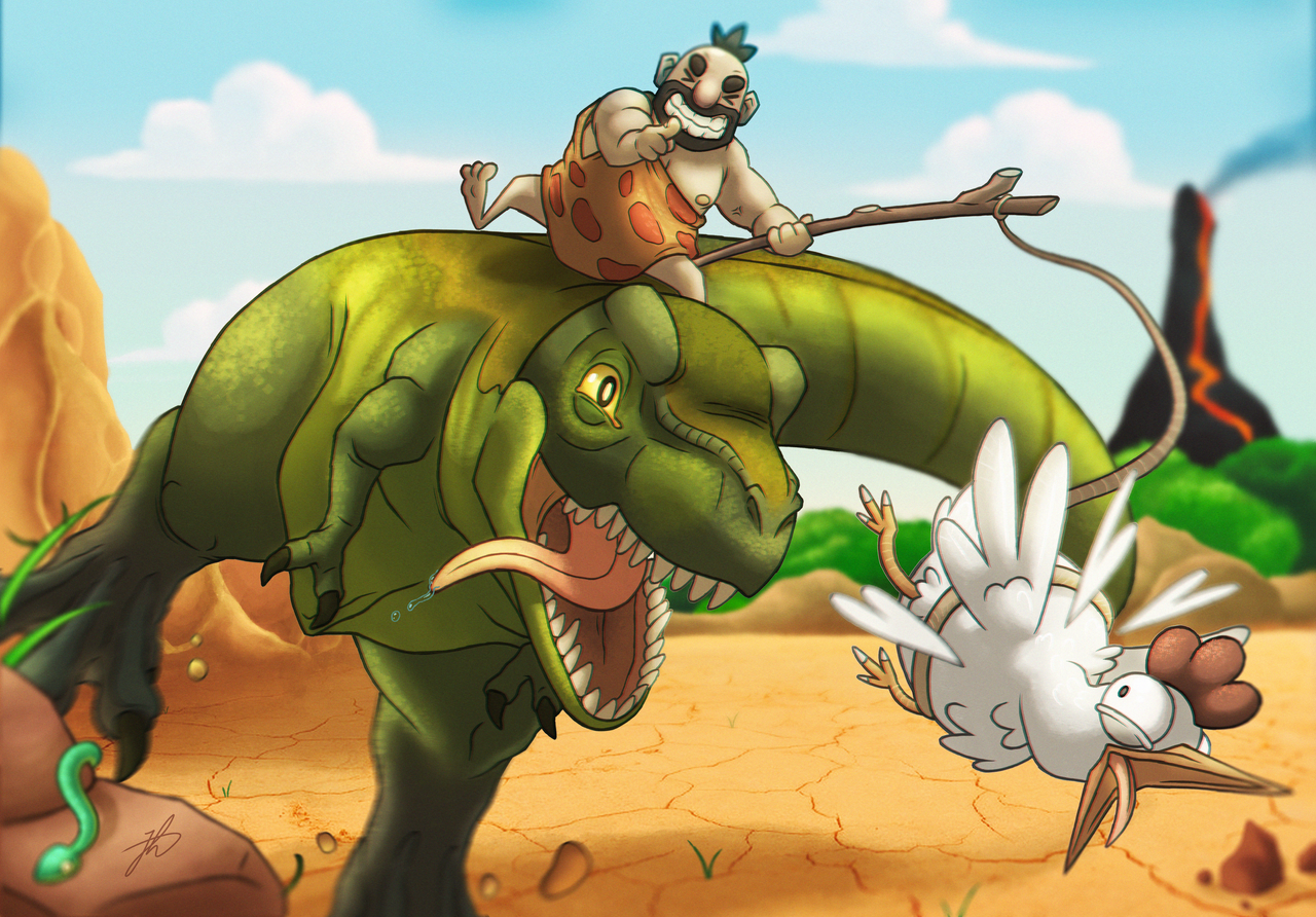 Dinosaur rider. by BananaPistol