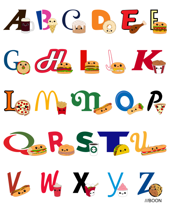 Fast Food Alphabet by mbaboon on DeviantArt