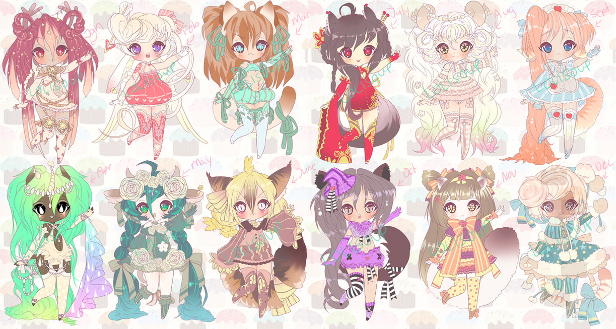 MONTH ADOPTABLES by Lolisoup