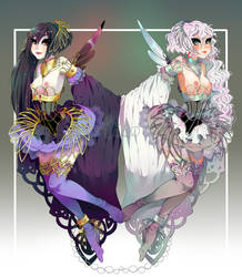 Odile and Odette Adoptables by minnoux