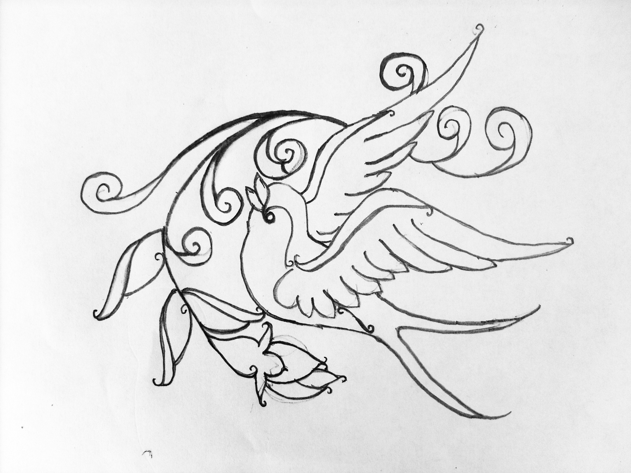 Swallow Tattoo Line Drawing : Swallow and rosebud by racheldee on deviantart