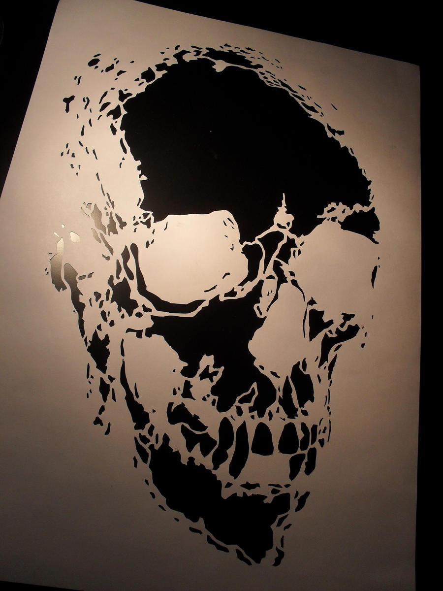skull stencil by oknodemon