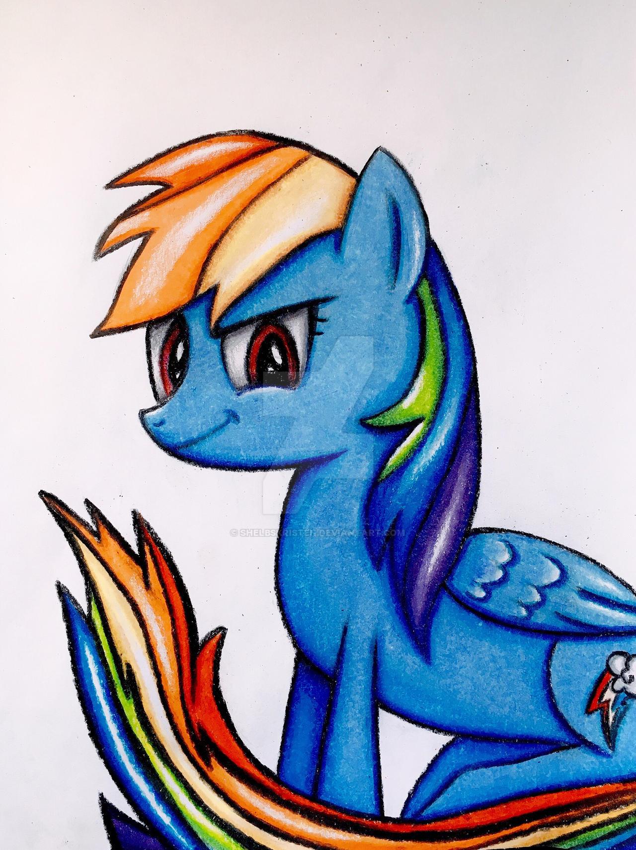 Rainbow Dash Coloring Pencil Drawing Mlp By Shelbskristen On Deviantart