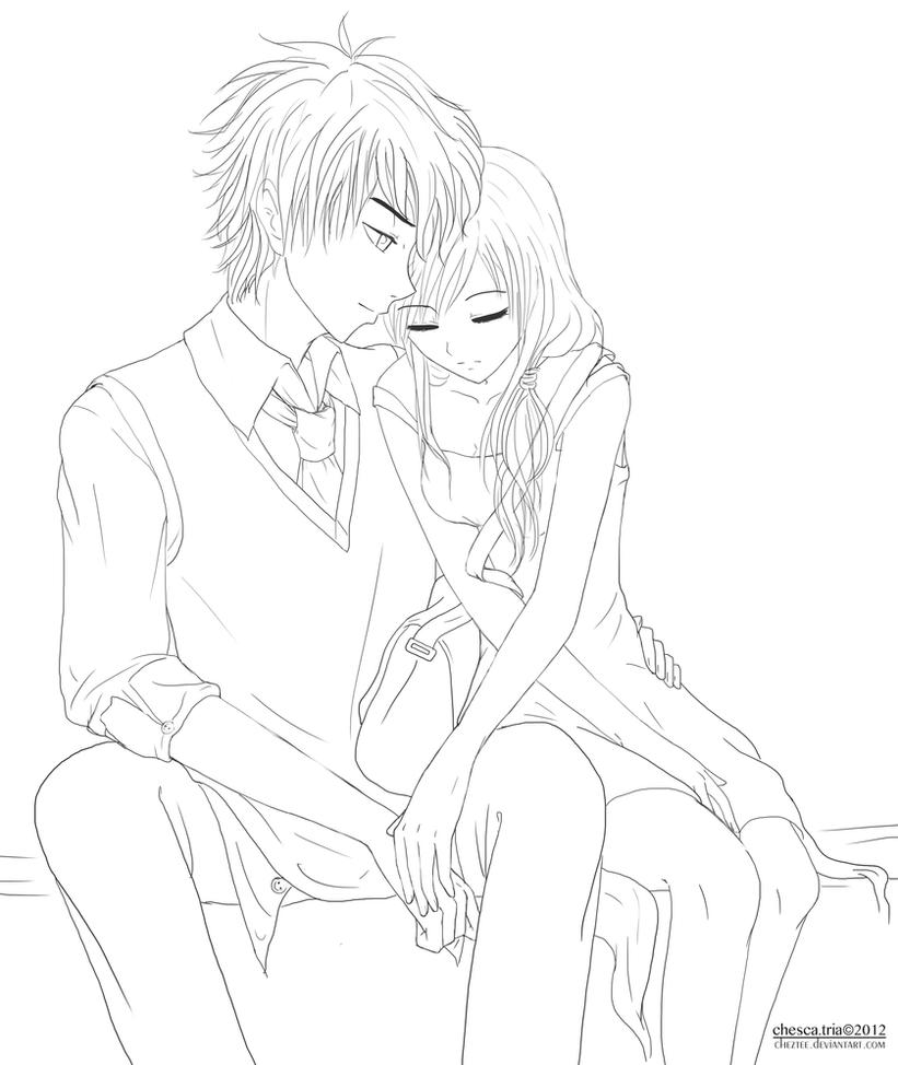 Line Art Couple : Anime cuddling coloring pages