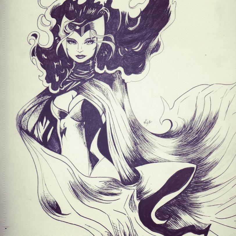 Scarlet Witch Sketch by walk2strawberryswing
