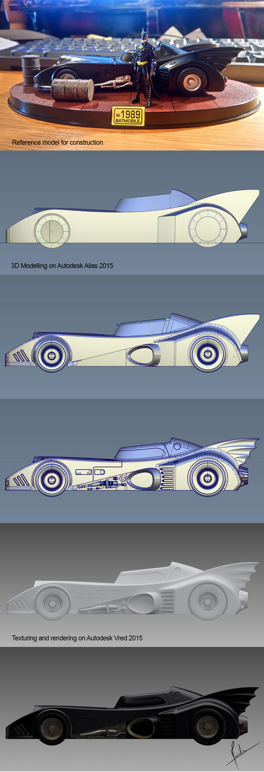 Batmobile Batman 1989 Stages of modelling by harlock62