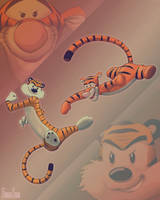 Tigers Fight: Hobbes vs Tigger by Fugaz-Star