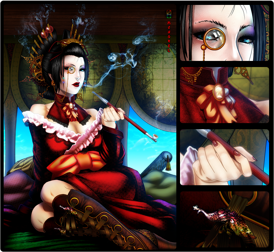 Steampunk Geisha by mongrelmarie