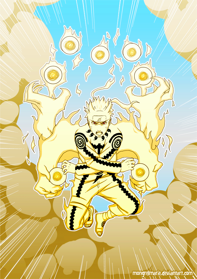 Naruto: Nine-tails Chakra Mode by mongrelmarie on DeviantArt