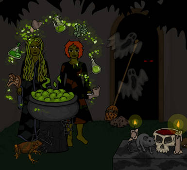 Witches in Haunted House by heatherleeharvey