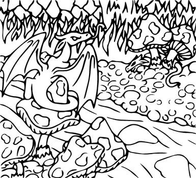 Dragon Colouring Page 1 by heatherleeharvey