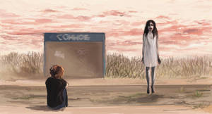Sunset, ghost, the bus stop by Helleg