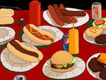 hambergers and hotdogs too