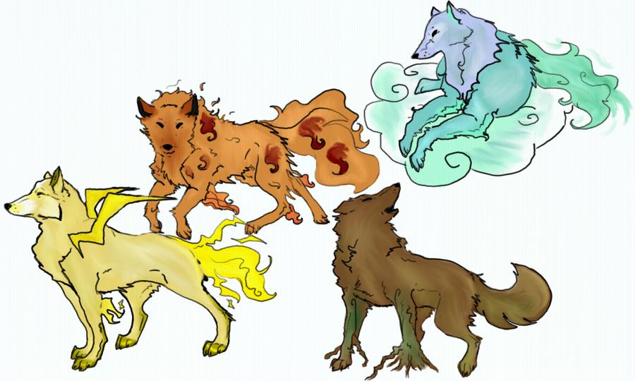 4 Element Wolves By Xxblackwolfangelxx Deviantart