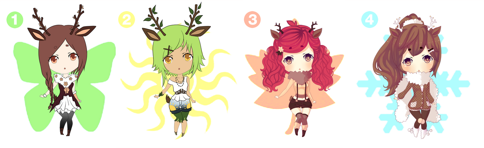 Sawsbuck Themed Adopts 2/4 [Open] by Chiri-nyan