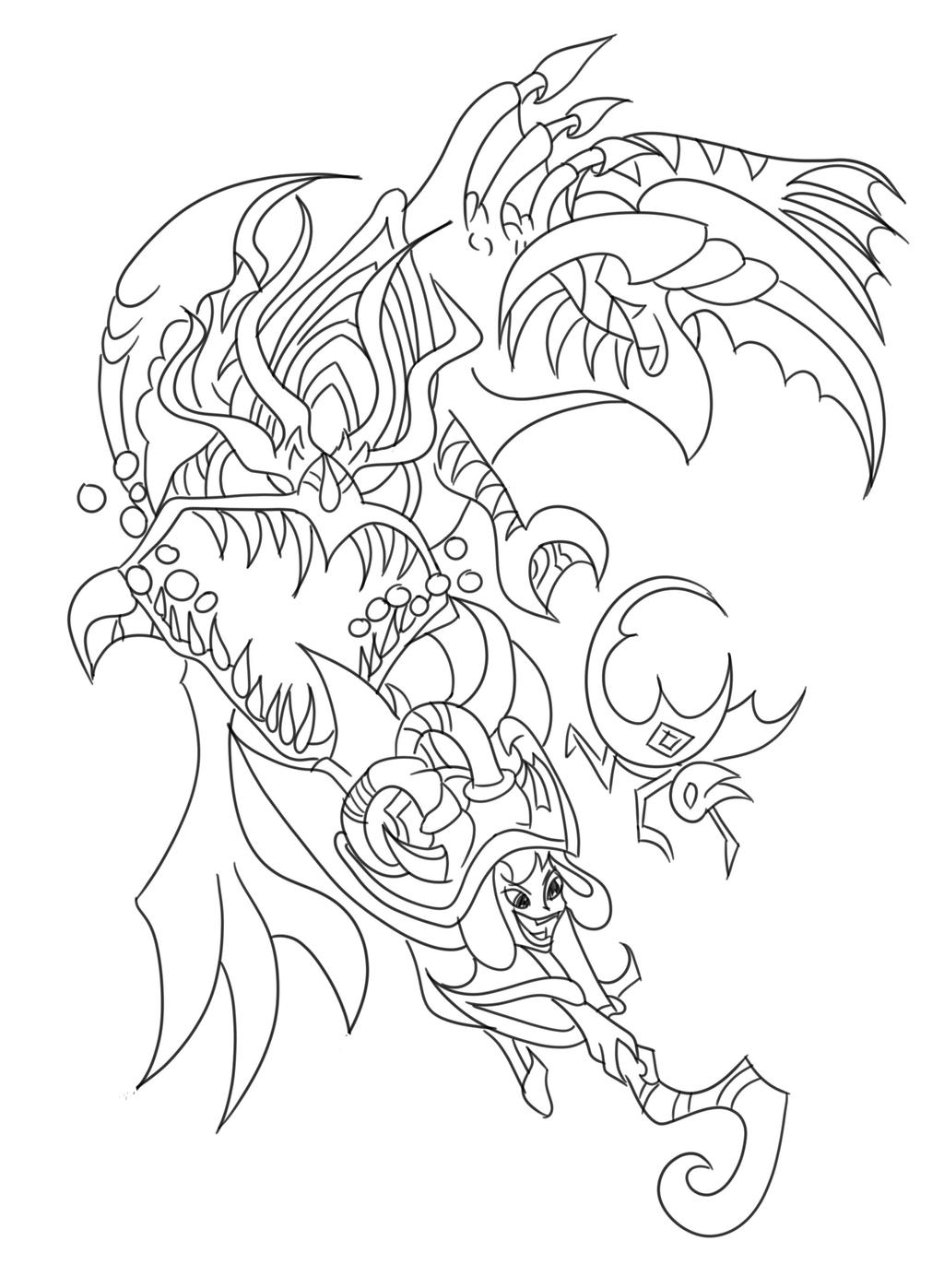 chogath and lulu coloring page by melusine designs