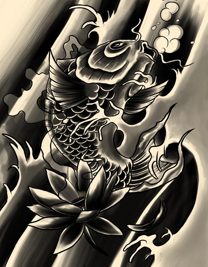 Black koi by xfreakcorex on deviantart for Black koi tattoo