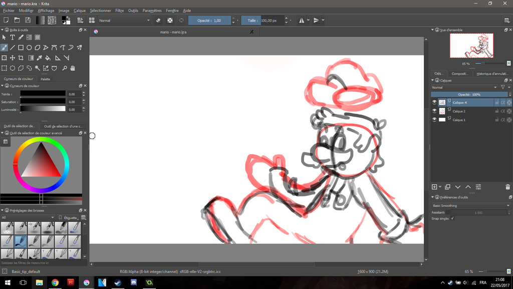 [WiP] Mario Sketch on Krita by HardSonicStorm