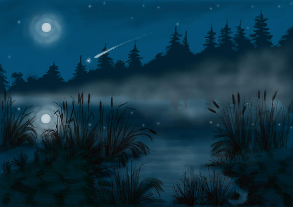 Night lake by Losse-elda