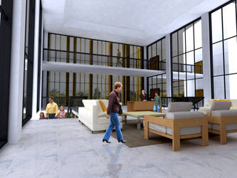 Lobby with Large Windows 3D