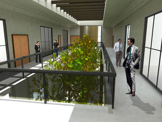 Green trees inside building 3D