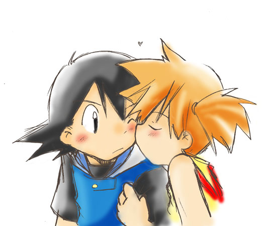 ash and misty kiss the girl № 334737