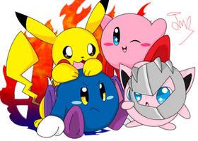 Pikachu,Meta Knight,Kirby,and Jigglypuff