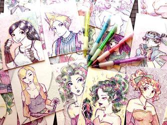 Final Fantasy Sketches by orinocou
