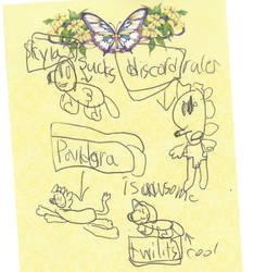 Talya draws Pandora and friends