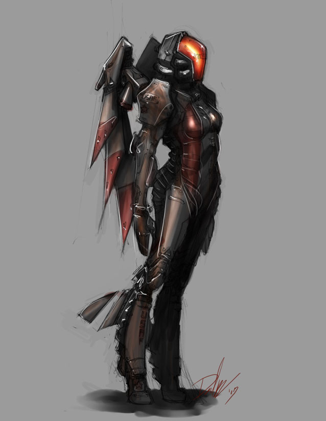 Get High Tech Futuristic Female Armor Background