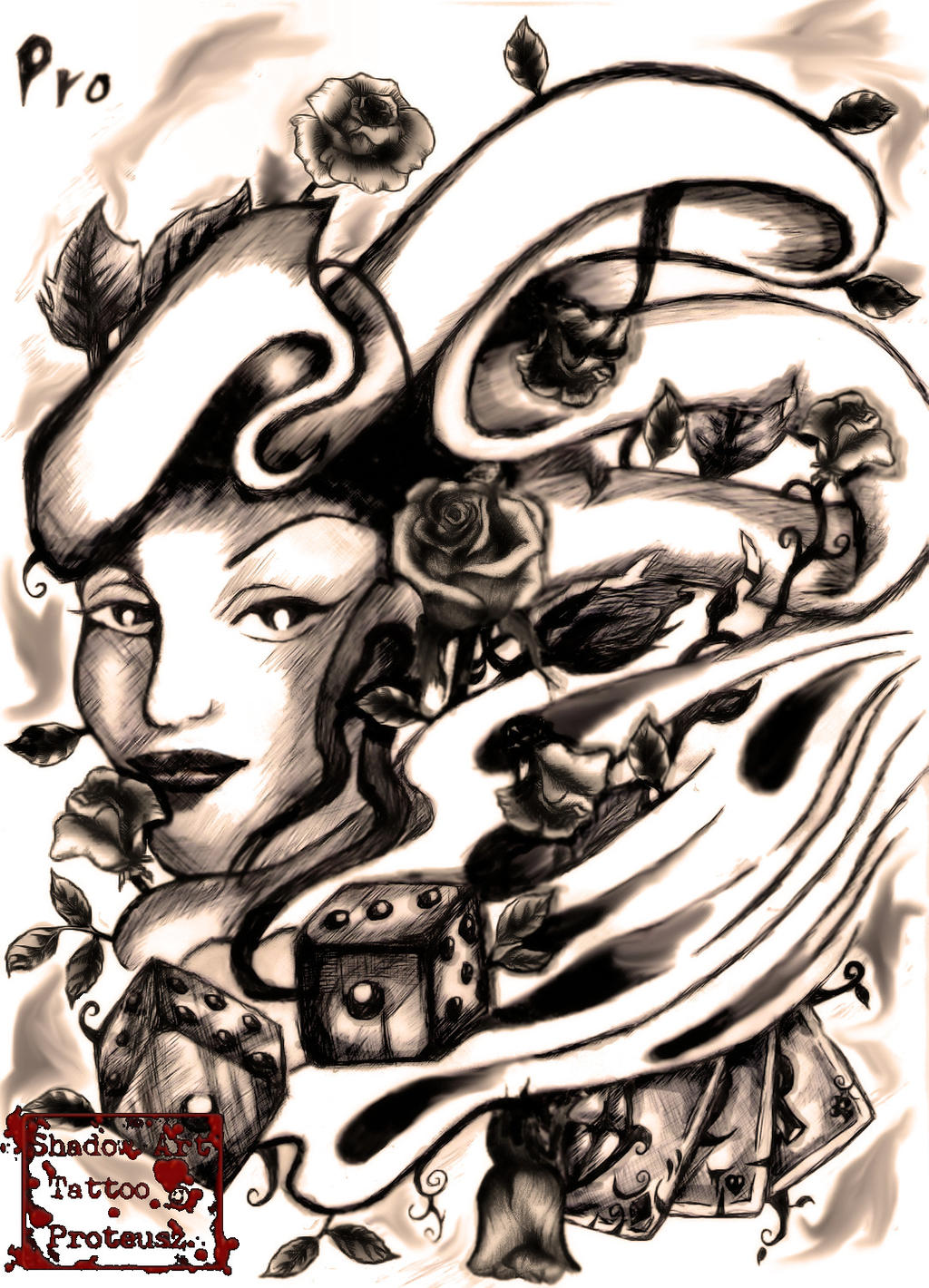 old school lady rose tattoo by proteusz on deviantart. Black Bedroom Furniture Sets. Home Design Ideas