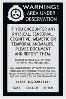 SCP Sticker Warning Label002 by toadking07