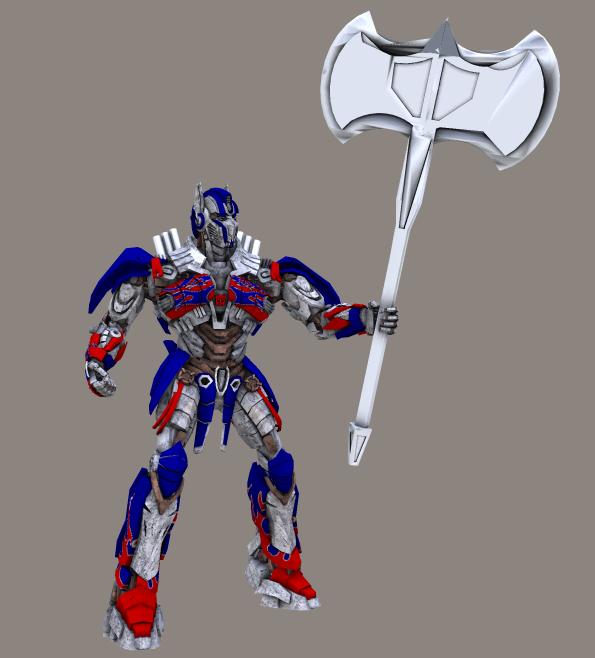 TF4 Optimus Prime with massive axe by RazzieMbessai