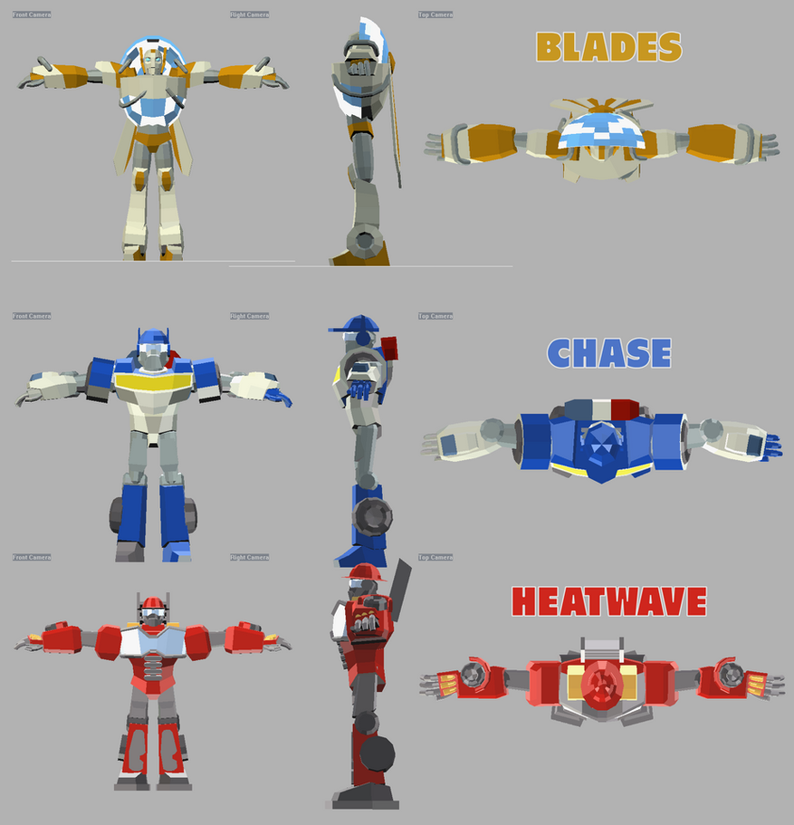 Rescue Bots orthographic views by RazzieMbessai
