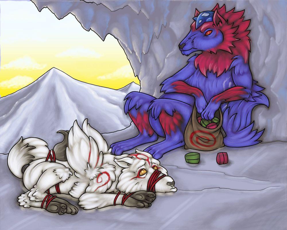 Oki and Amaterasu fight over their goodies by RazzieMbessai