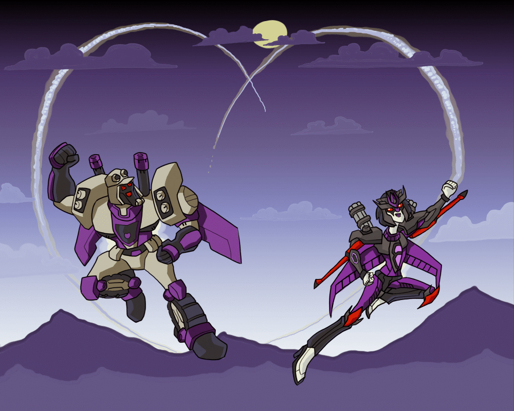 Blitzwing and Onix doing loop the loops by RazzieMbessai