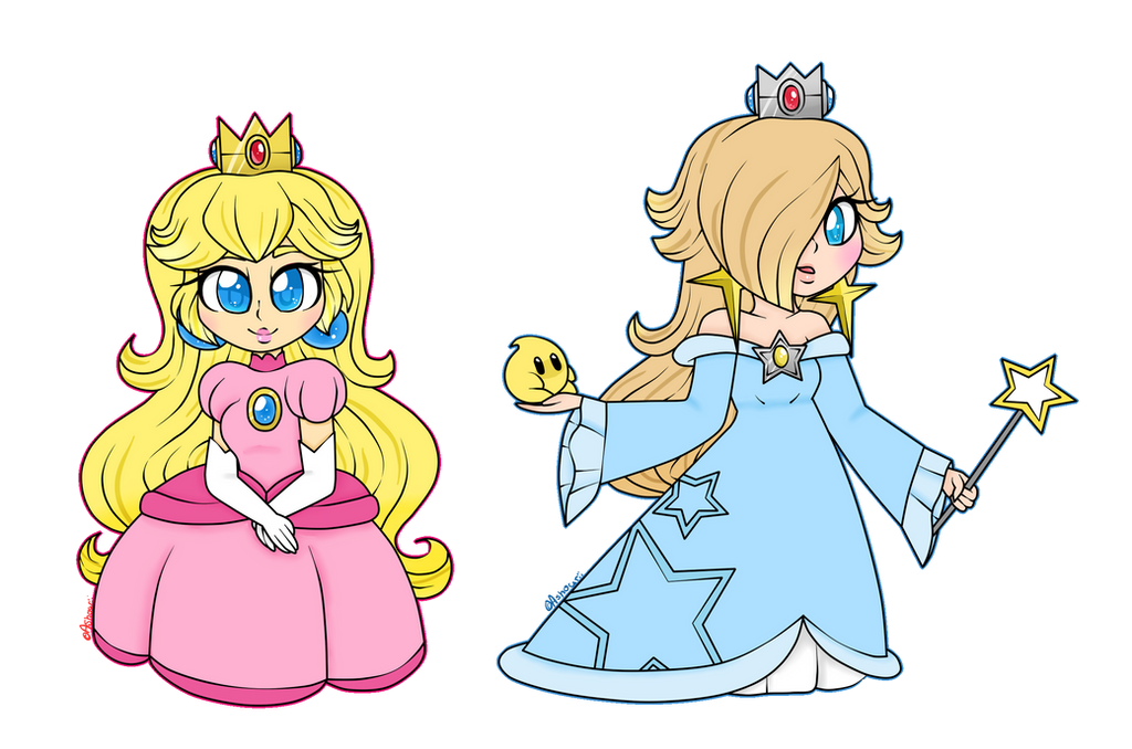 Peach and Rosalina chibis by Ashourii