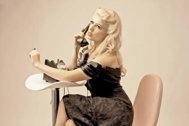 Vintage Phone Woman by Astoroth