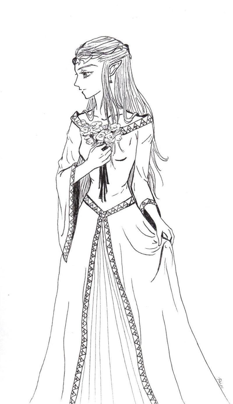 Princess zelda less formal by viridianrain on deviantart for Zelda coloring page