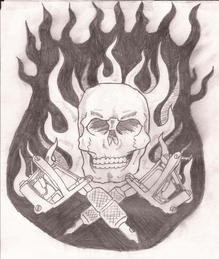 Drawings Easy Skull With Guns: Skull And Tattoo Guns By Ettin1 On DeviantArt