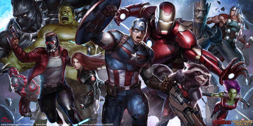 MARVEL Avengers and Guardians of the Galaxy by inhyuklee