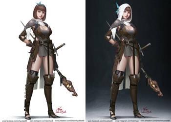 Girl, Wizard, Sword. by inhyuklee
