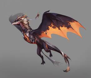 Cinder dragon by Inkywyrm