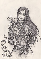 Lunaya and the kitten with the muddy paws by Neferu
