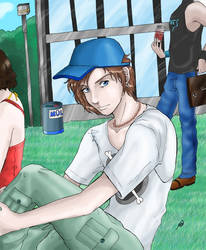 A guy in front of a school by Neferu