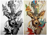 Greyscale vs colour old school drawing by RosieColquhoun