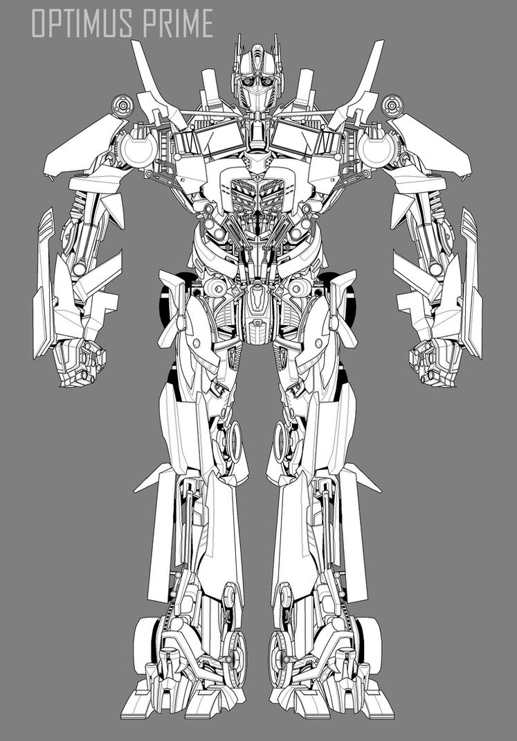movie optimus prime lineart by hybridmode on DeviantArt