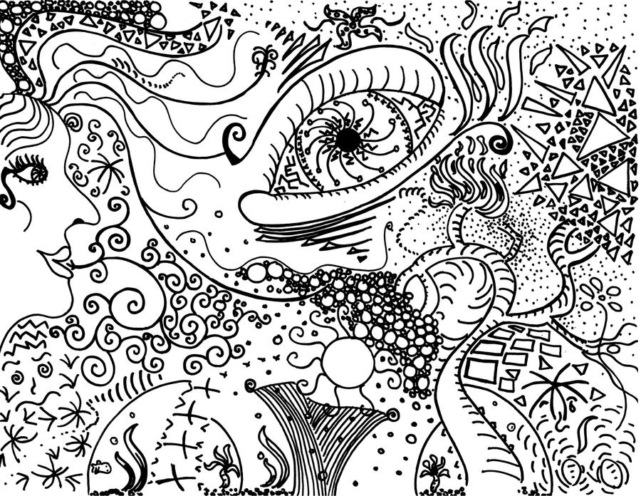 Psychedelic sun coloring pages